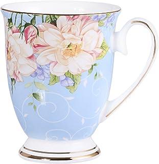 AWHOME Royal Fine Bone China Coffee Mug Assorted colors Tea Cup 11 oz (1, blue)