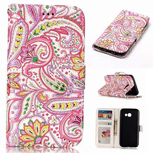 Samsung Galaxy A3 2017 geval, PU Lederen Flip portemonnee case credit card slot functies magnetische off stent functie 3D cartoon patroon ontwerp beschermende DECHYI case Peper bloemen