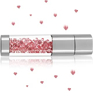 Techkey Jewelry Crystal USB Flash Drive for Girls, with 2 in 1 Anti Dust Plug + Stylus Pen for Touch Screens Set, Photo Fr...
