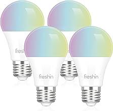 Smart Light Bulbs FRESHIN E27 A60 9W RGBCW WiFi Light Bulb, Dimmable Led Light Compatible with Alexa ,Google Home No Hub R...
