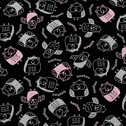 Tela de algodón para niños (longitud: 100 cm), diseño de búhos