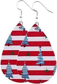 HHoo88 Christmas Tree Leather Pattern Drop Earrings Jewelry Gift Earrings for Women Lightweight Dangle Teardrop Earrings