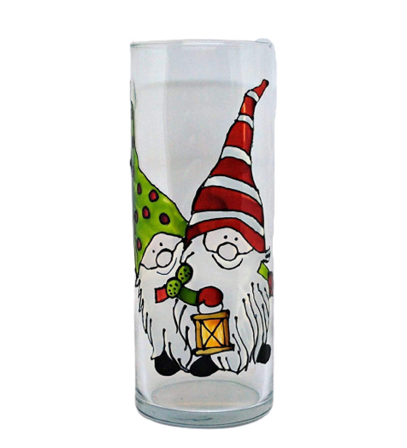 Winter Christmas Gnomes 贈り物 Hand Painted Inch Cylinder 期間限定今なら送料無料 Glass 9 Flowe