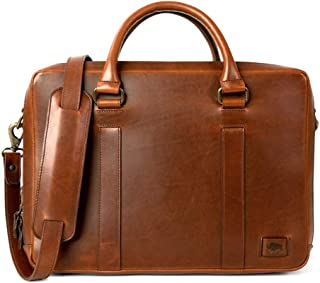 Full Grain Leather Briefcase for Men | Jefferson by Buffalo Jackson | Fits 13