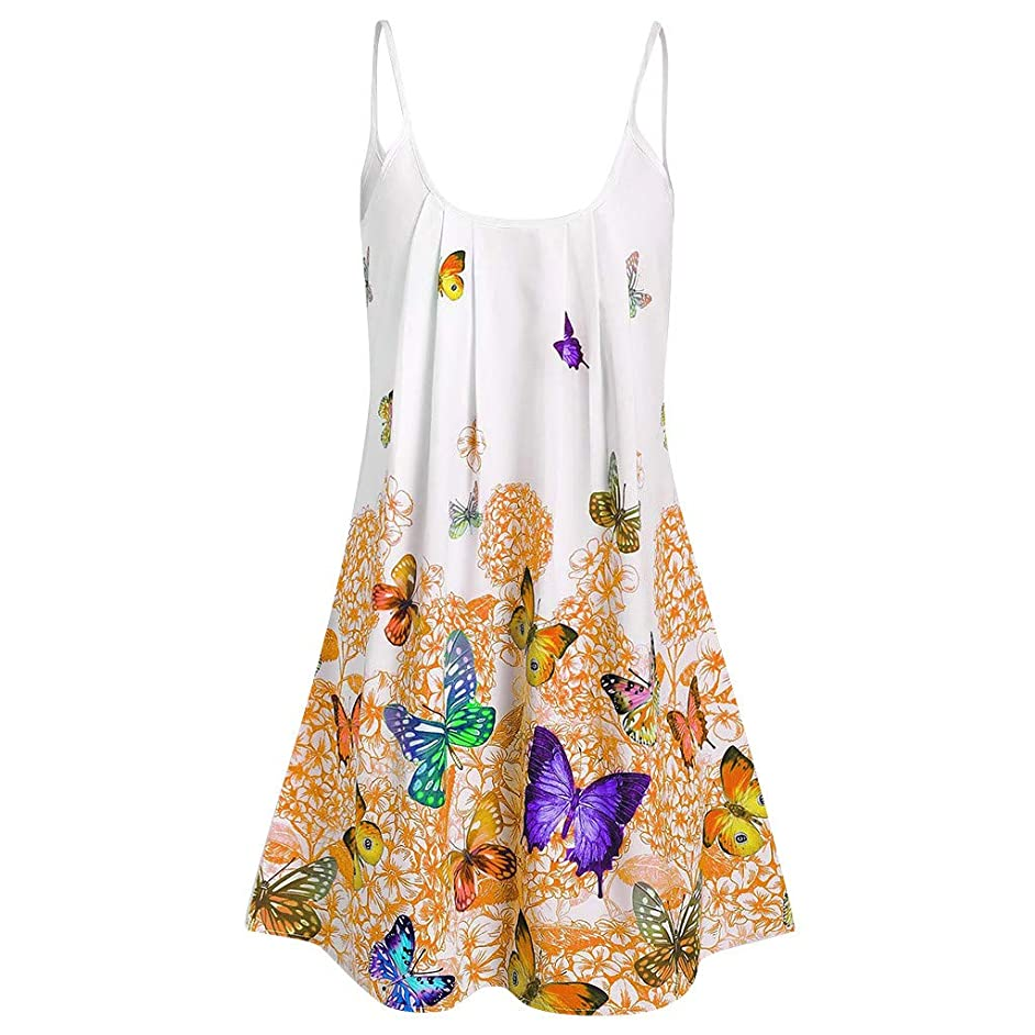 Tomppy Women Plus Size T-Shirt Ladies Casual Summer Sleeveless Tunics Tops Butterfly Printed Camis Sling Tees Blouse