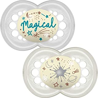MAM Latex Original Night Soothers 12 Months+ (Pack of 2), Glow in the Dark Baby Soothers with Self Sterilising Travel Cas...