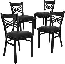Flash Furniture 4 Pack HERCULES Series Black ''X'' Back Metal..