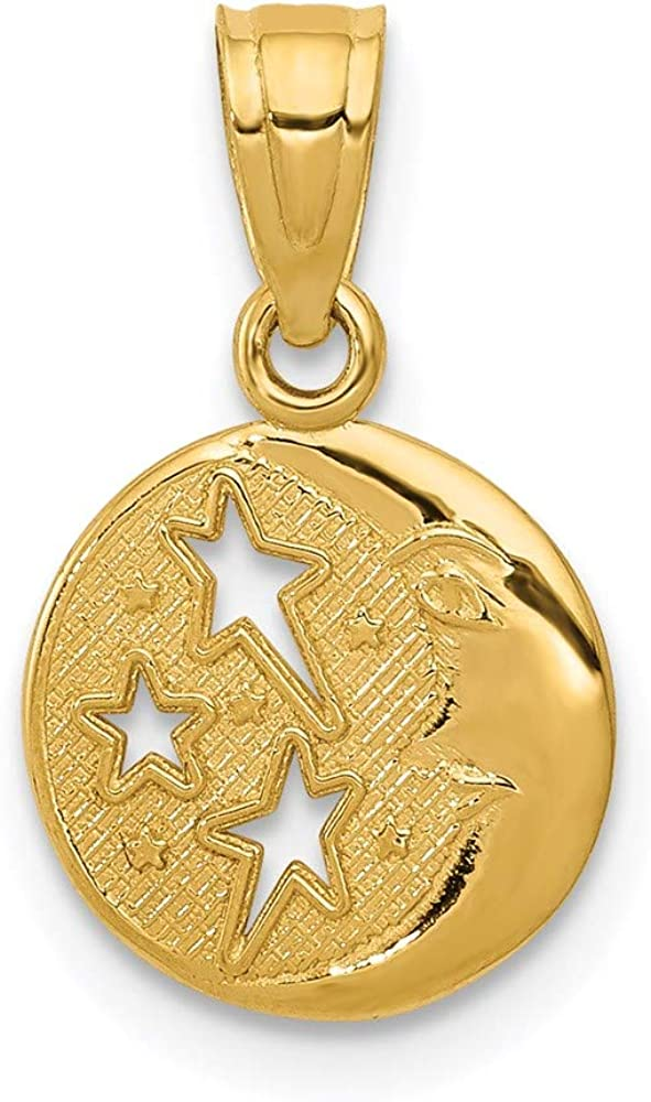 14k Yellow Gold Moon Stars Pendant Charm Necklace Celestial Fine Jewelry For Women Gifts For Her