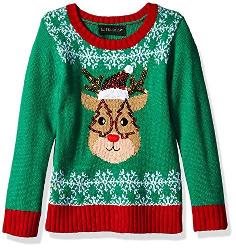 Blizzard Bay Girls Ugly Chrismas Sweater, Green/red/Reindeer, 4