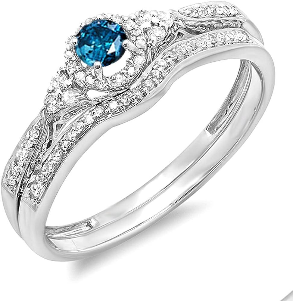 Dazzlingrock Collection 0.33 Carat (ctw) 10k Round Blue & White Diamond Ladies Halo Style Engagement Ring Set 1/3 CT, White Gold