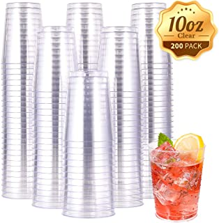 10 OZ Clear Disposable Plastic Cups, Clear Plastic Cups Tumblers, Heavy-duty Party Glasses, Disposable Cups for Wedding Party(200 Pack)