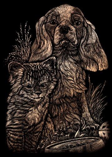 Royal & Langnickel Tarjeta de rascar Cachorro & Gatito cuivrés–Engraving Art