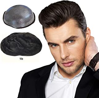 Soft Thin Skin Toupee for Men Human Hair, LLWear Hair Pieces Single Knotted Natural Wavy Men's Replacement System with 8×10 inch Cap Off Black(#1b)