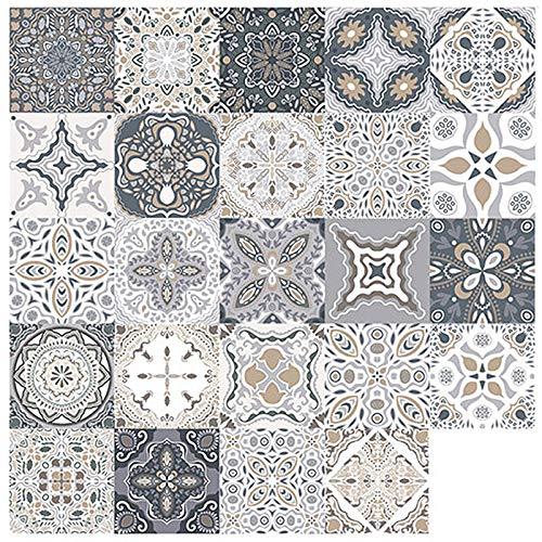 Bestine 24 Stück Fliesenaufkleber Fliesen Aufkleber Retro Mosaik marokkanischen Stil Selbstklebende Fliesen überträgt Aufkleber DIY für Küche Badezimmer Home Decor (24 Stück,20 x 20 cm)