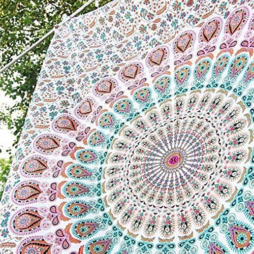 Raajsee Indisch Psychedelic Mandala Weiß braun Wandteppich / Indien Elefant Boho Wandtuch Hippie Wandbehang 82x92 Inches