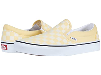 Vans Classic Slip-Ontm ((Checkerboard) Golden Haze/True White) Skate Shoes