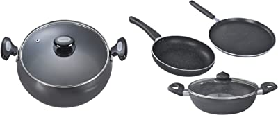 Prestige Omega Deluxe Granite 3 Pieces with 1 Glass Lid + Prestige Hard Anodised Cookware Lifetime Induction Base Sauce Pan, 200mm, Black