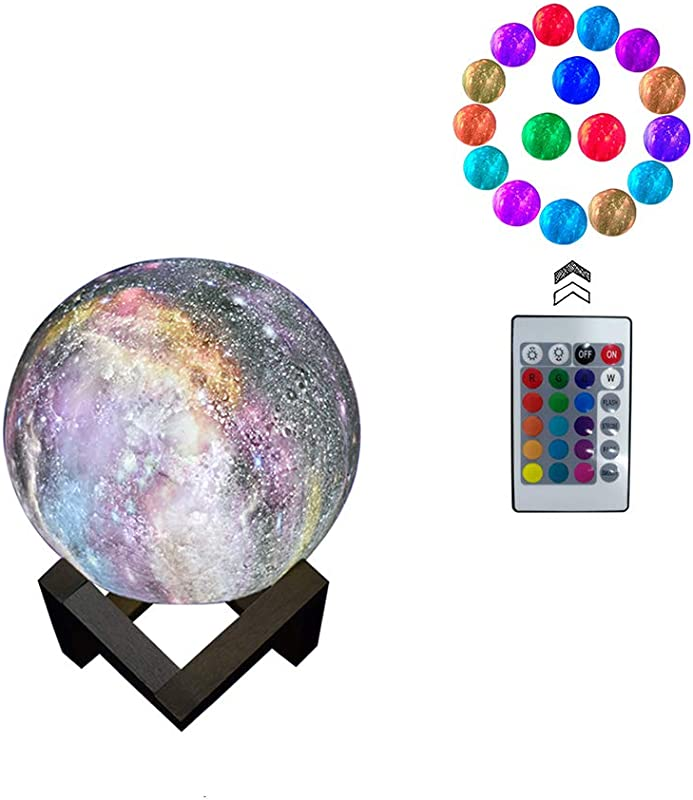 3D Moon Lamp Light Night Light 16 Colors 3D Galaxy LED Lamp Remote Touch Control USB Rechargeable Room D Cor For Birthday Party Kids Baby Gifts 3 2inch