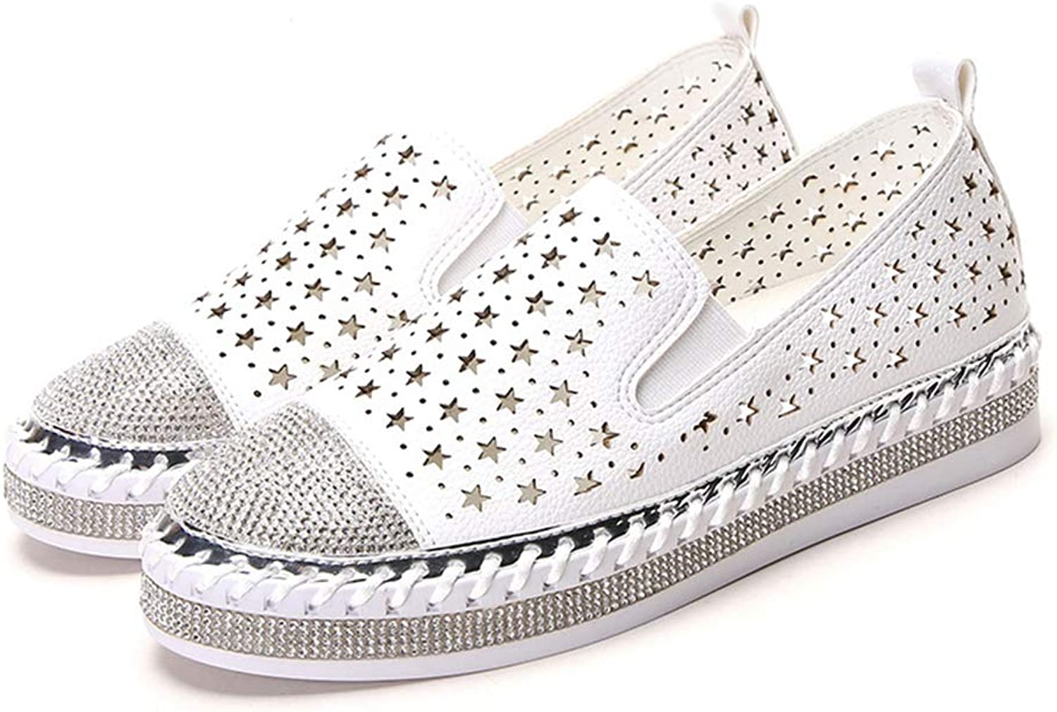 JOYBI Women's Bling Platform Sneakers Breathable Star Hollow Crystal Decor Delicate Stitchese Ladies Slip On Flats Loafers