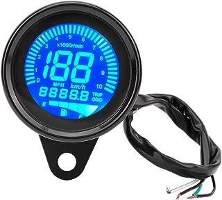 Aramox Motorcycle Tachometer,  Motorbike Instrument Display Oil Level Meter LCD Gauge Universal digital Motorcycle Odometer Tachometer Speedometer 0-199km/h (Black)