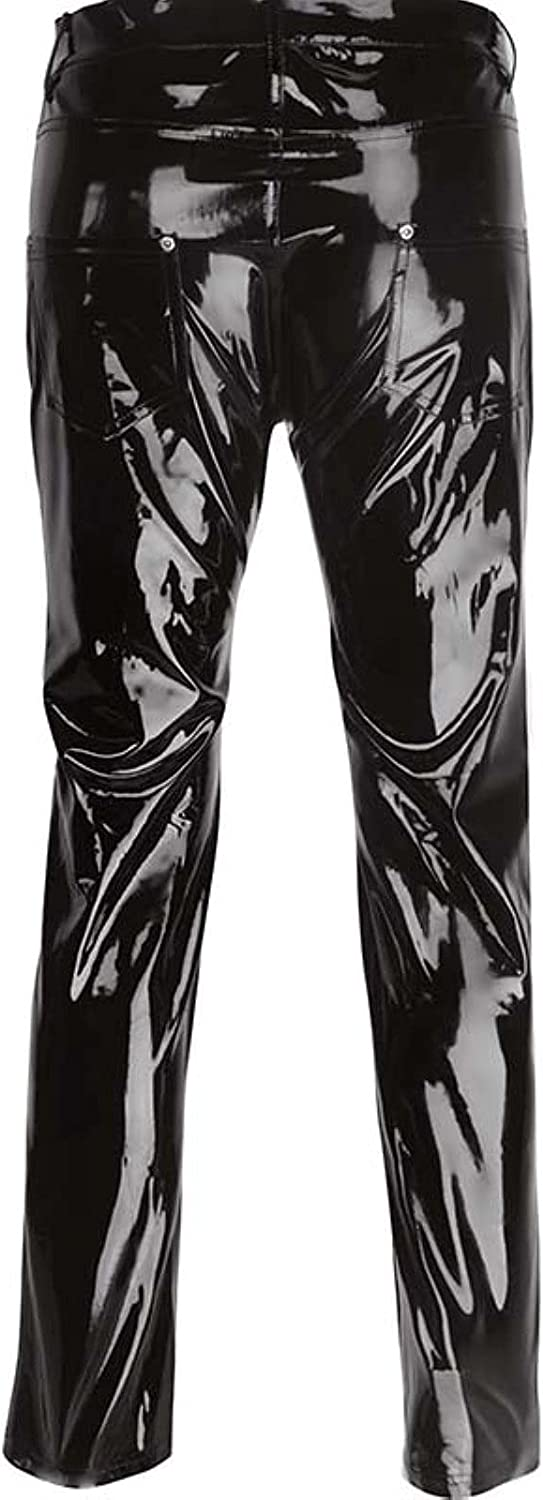 WIITON Sexy Black Patent Leather high Gloss Men's Trousers