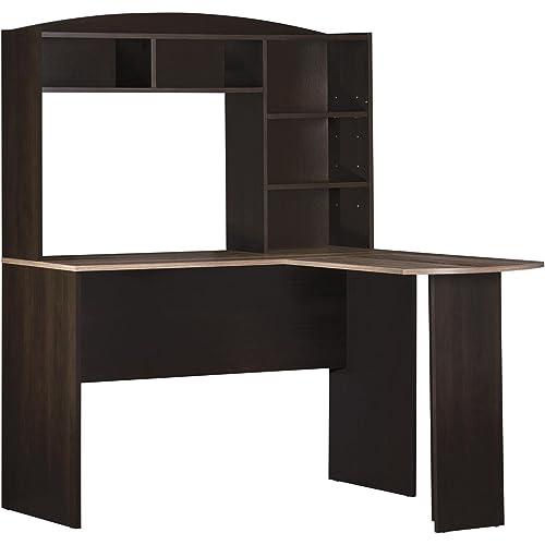 Amazon Com Ameriwood Home Dakota Space Saving L Desk With Hutch Espresso Rustic Medium Oak Furniture Decor