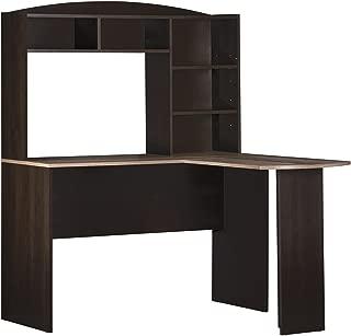 Ameriwood Home Dakota Space Saving L Desk with Hutch Espresso/Rustic Medium Oak