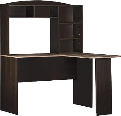 Ameriwood Home Dakota Space Saving L Desk With Hutch Espresso Rustic Medium Oak Furniture Decor
