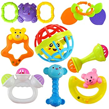 Ramakada Lovely Attractive Colorful Toddlers 7 Rattle and 1 Teether Toys Set for Babies 8 Pieces