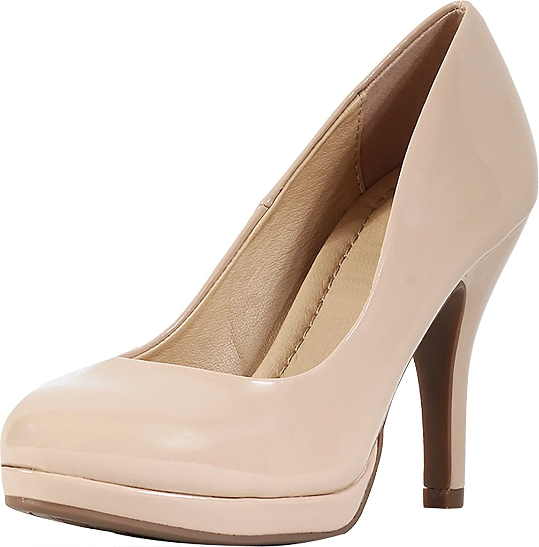 Cambridge Select Women's Closed Round Toe Padded Comfort Slip-On Platform Stiletto High Heel Pump