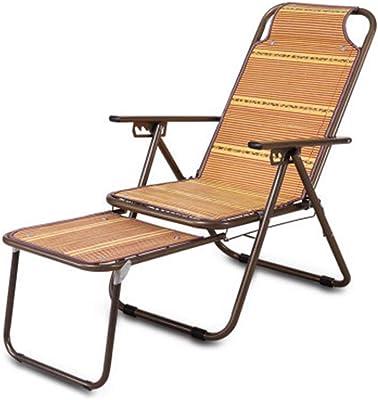 HUIFANG Bambú Almuerzo Descanso Silla Reclinación Ocio Silla Plegable Al Aire Libre Playa Mahjong Silla Feliz
