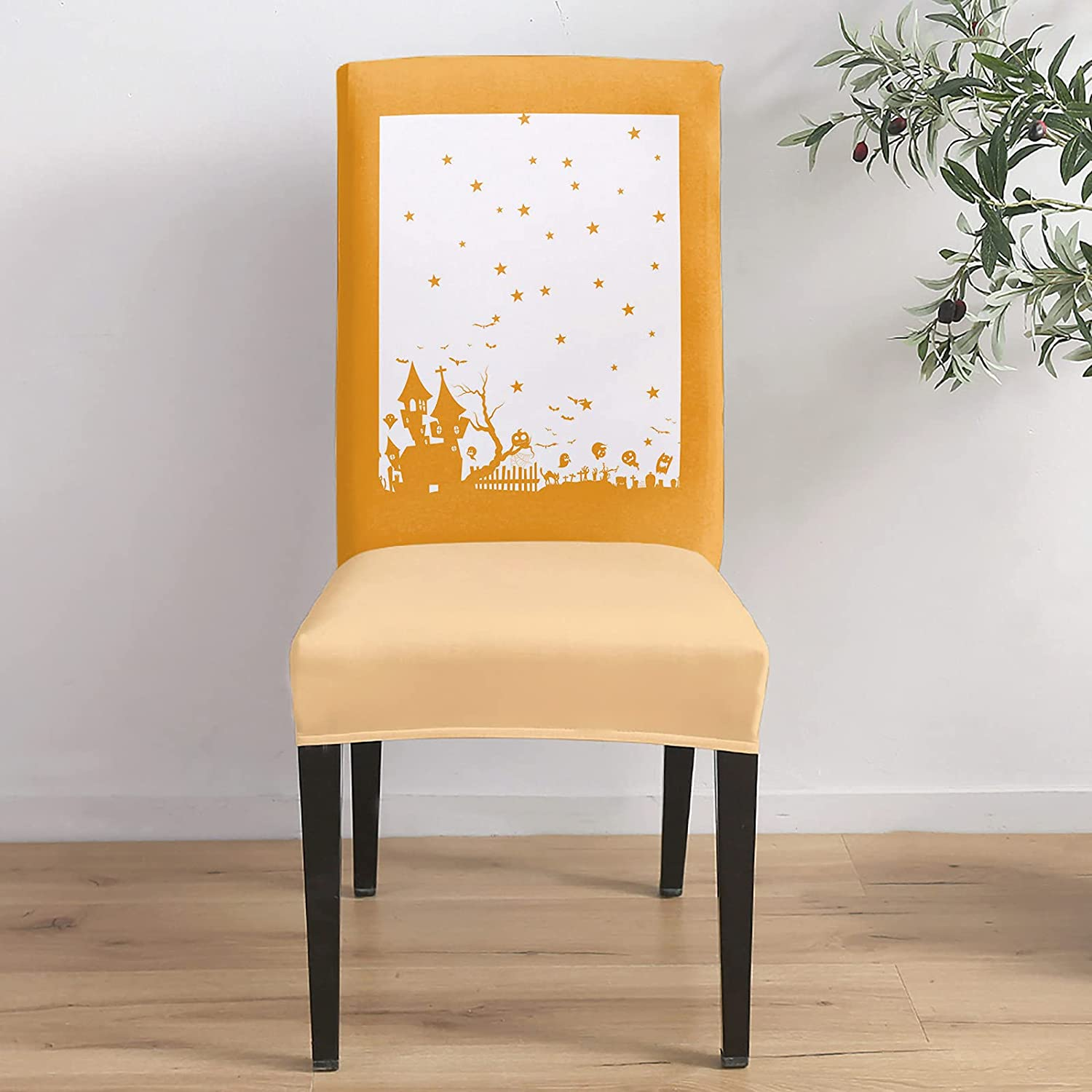 6Pcs Chair Covers Dining Room Halloween Chic Sta Seat Protector Direct Max 43% OFF stock discount