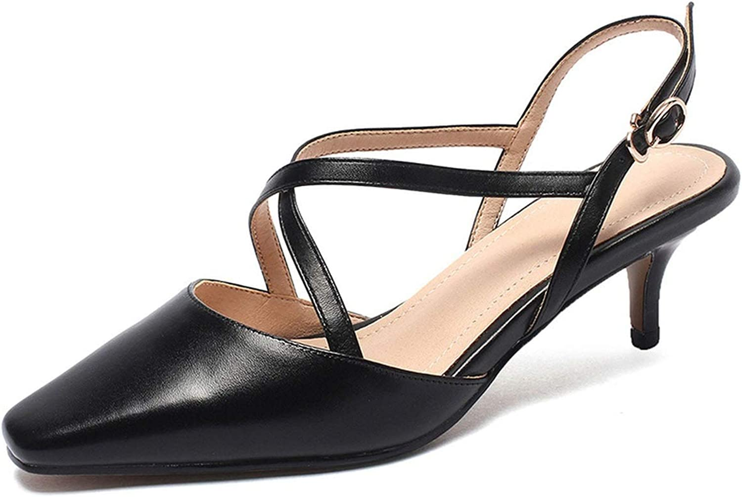 Easy-S-E-H Summer Leather Women Sandals High Thin Heel