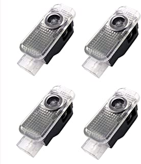 4pcs Car Door Light Symbol Identification Lights for Audi, Ground Led Logo Welcome Courtesy Step Projector Light Ghost Shdow Light for Audi Series 5W Plug and Play
