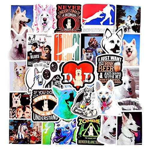 WYDML Pegatinas de Perro Pastor Suizo Blanco de Pastor de Animales para Bicicleta DIY, álbum de Recortes, monopatín, Tabla de Snowboard, Equipaje para portátil, 50 unids/Set