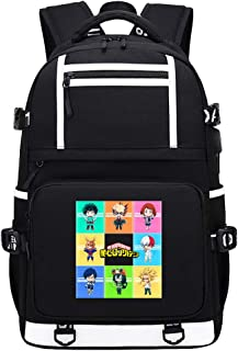My Hero Academy USB Unisex Anime Mochila Mochila con Puerto de Carga USB Utilizado para la Escuela