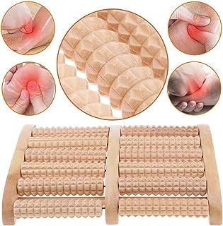 BESTZY de madera de rodillo pie de masaje Herramientas Reflexología para el dolor de pie,Itchy pies de socorro,y regalo gratuito,pie Reflexología Gráfico