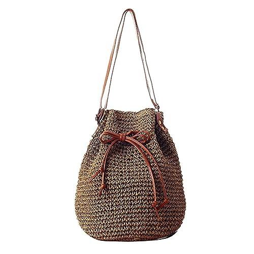 3783c56a8c Donalworld Lady Korean Woven Bucket Bag Drawstring Hobo Small Straw  Shoulder Bag