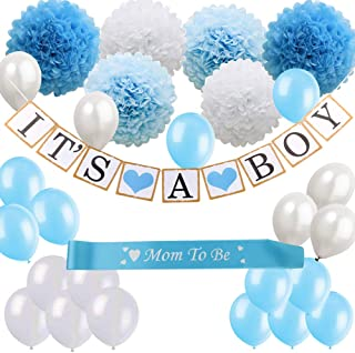 Baby Shower Decorations for Boys Kit, It's a Boy Banner, Blue, Tiffany Blue and White Paper Flower Pom Poms, White Blue Balloons, om to be Sash, Perfect for Indoor and Outdoor Baby Shower Favors, Gift