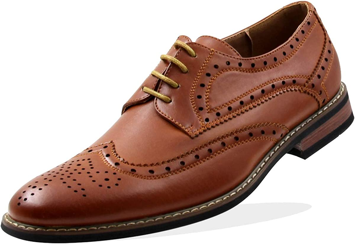 Stylish & Comfort Men's Lace Up Plaid Pattern Oxford Wing Tip Classic Dress Shoes