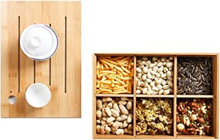 Snack Box Candy Dish, Multifunction Snack Storage Container Bamboo Wood Sharer with 6 Compartments,for Dry Fruits Nuts Sna...