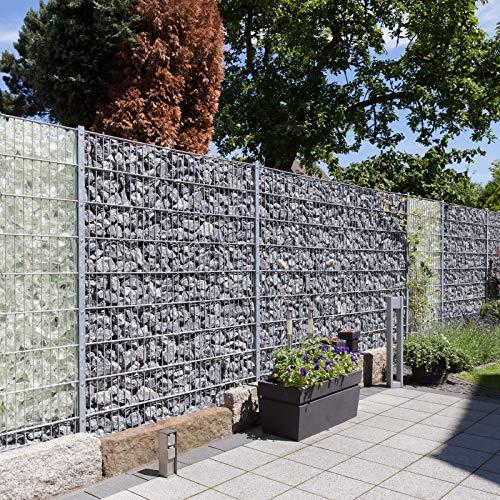 HORI® Gabionenzaun anthrazit lang I Sichtschutz-Zaun Komplettset I Zaunhöhe: 123 cm I Zaunlänge: 5,00 m