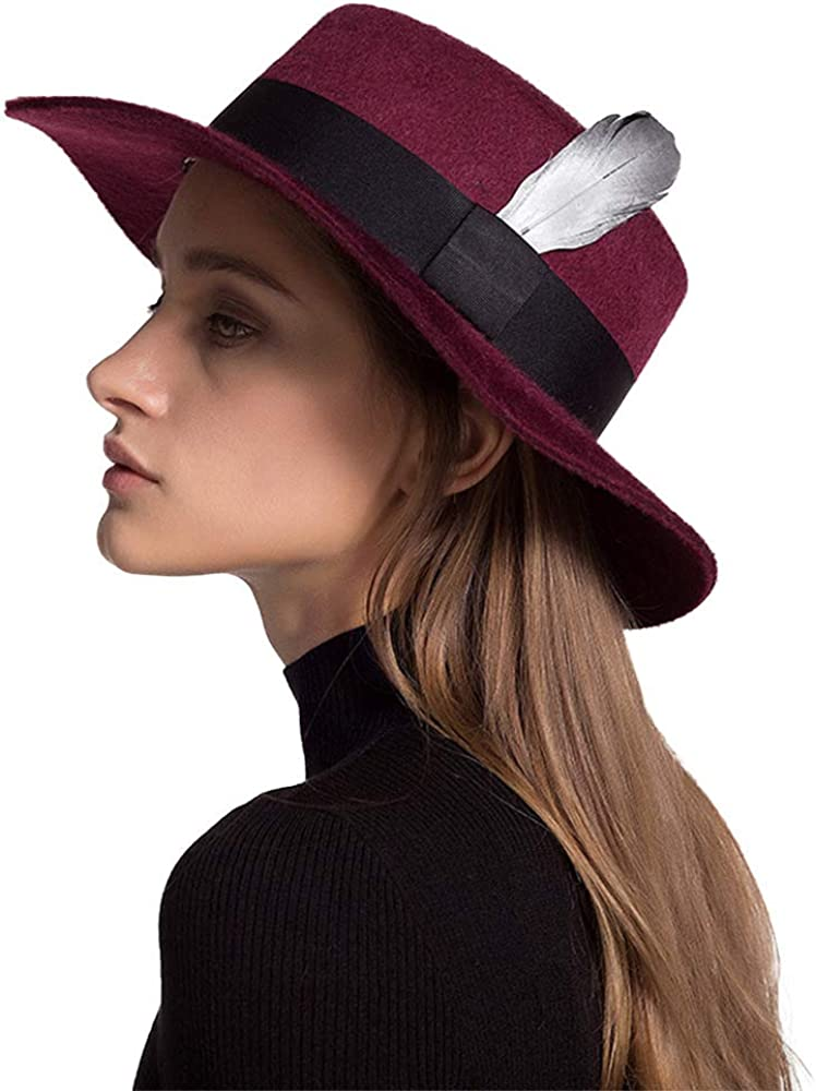 F FADVES Womens Wool Felt Fedora Trilby Hat with Feather