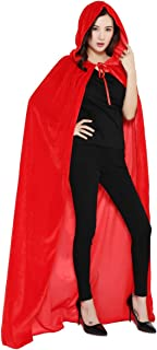 Cloak with Hood Costume Hooded Cape Crushed Velvet for Men Women 23-66inches
