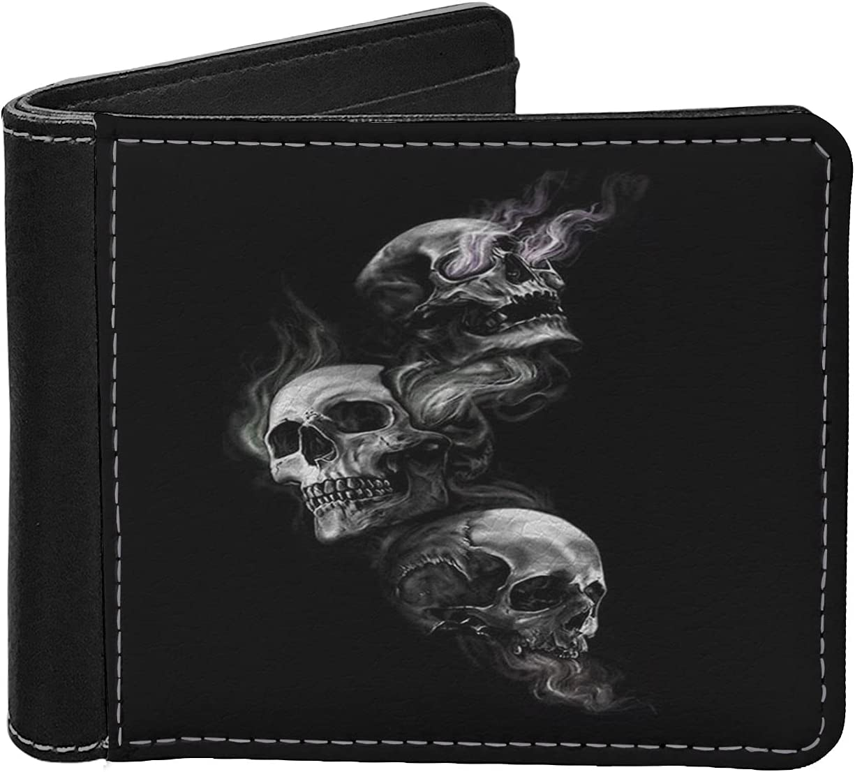 Binienty Black Overseas parallel import regular item Smoke Skull Limited time trial price Print Durable Mens Novelty Wallets L