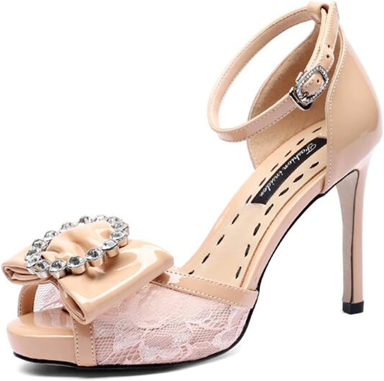 Fashion Lace Bow Rhinestone Platform Sandals High Heels Ms Fashion Lace Bow Tie Rhinestone 9.5CM