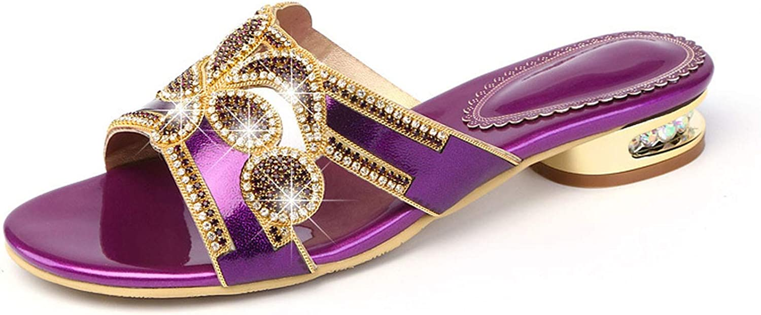 Woman Slides Purple golden Summer Rhinestones Beads Slippers High Heels Sandals Bohemia Xmx-B0002
