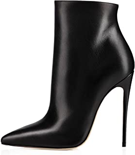 elashe Bottes Classiques Femme | 12cm Bottine à Talon Haut | Zip Stiletto Talons Hauts Ankle Boots Chaussures