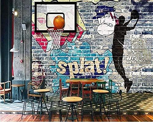 Pared americana decorativa del papel de pared de la pared de ladrillo de la pintada del baloncesto de encargo Pared Pintado Papel tapiz 3D Decoración dormitorio Fotomural sala sofá mural-300cm×210cm