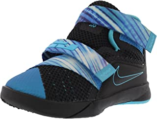 low priced 28d11 b1ca1 Nike Boys Lebron Soldier 9 Childs Toddler Shoes Black Beta Blue Heritage  Cyan 5C